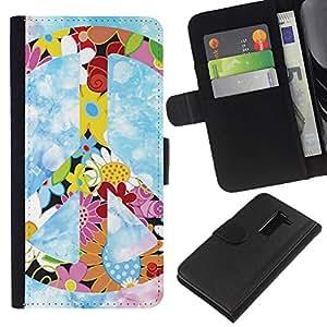 KLONGSHOP // Tirón de la caja Cartera de cuero con ranuras para tarjetas - Hippie símbolo de paz de las flores coloridas de primavera - LG G2 D800 //
