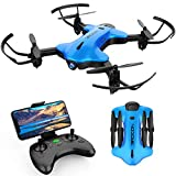 DROCON Ninja Foldable Drone for Kids and Beginners with 720P FPV HD Wi-Fi 90° Rotating Camera with Wide-Angle Lens, Real-time Live Video, Altitude Hold, One-Key Take-Off/Landing, Gravity Sensor, Blue