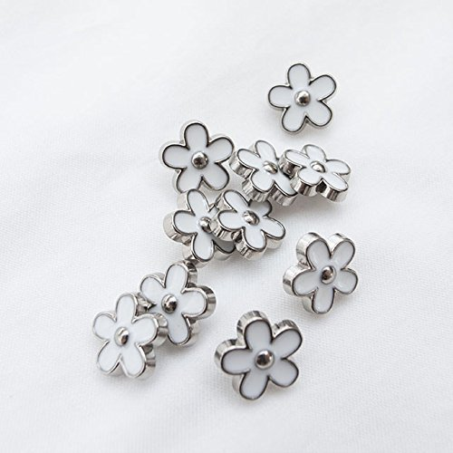 Metal Flower Buttons (Takashima Metal Flower Buttons #EC662 11.5mm(7/16'') 10Pieces C/#N Silver~White)
