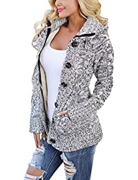Women Hooded Knit Cardigans Button Cable Sweater Coat 41502ef46