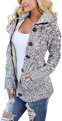 sidefeel Mujer con capucha Knit Cardigans botón Cable Sweater Coat