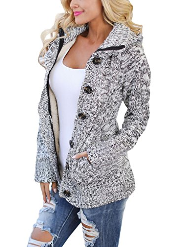 Sidefeel Women Hooded Knit Cardigans Button Cable Sweater Coat Medium Grey -