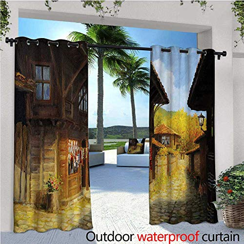 (homehot Ancient Exterior/Outside Curtains Middle Age Wooden Houses in Fall Season Day Ottoman Balkans Traditional Style Print for Patio Light Block Heat Out Water Proof Drape W84 x L108 Brown Blue)