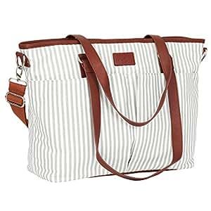 Diaper Bag by Hip Cub - Designer Messenger - W/ Stylish Stripe Baby Changing Pad