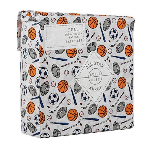 - All Star Arena Full Size Double Bed Sports Cotton Sateen Sheet Set Football Soccer Baseball Basketball Hockey