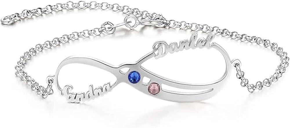 KAULULU Personnalis/é Femme Bracelets Cheville avec Nom Grav/é Bracelets Enfant avec Prenom pour M/ère Fille Bijoux Cadeaux Anniversaire pour Femme BFF