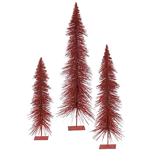 (3 Piece Glitter Layered Christmas Tree Set Color: Red)
