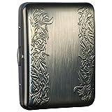 Vintage Bronze Brocade Cigarette case/stash Box Credit Card Case Metal Cigarette Case Box - Ehonestbuy Double Sided Spring Clip Open Pocket Holder for 20 Cigarettes
