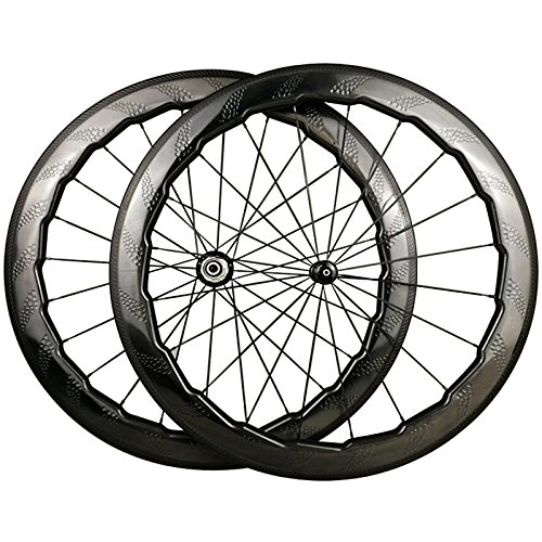 LOLTRA NSW 454 Road Bike Wheelset, 700C 58 mm Clincher Dimple Carbon Wheels with R13 Ceramic Bearings Hub Showstopper Brake Track(58 mm Clincher, R13 Ceramic Bearings Hub)