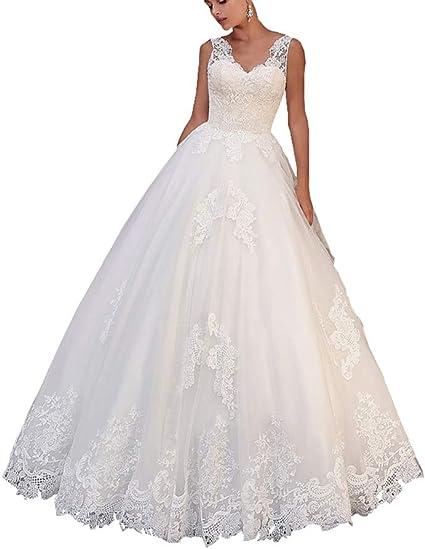Women Lace Appliqued Wedding Dress Cap Sleeve Bridal Gown