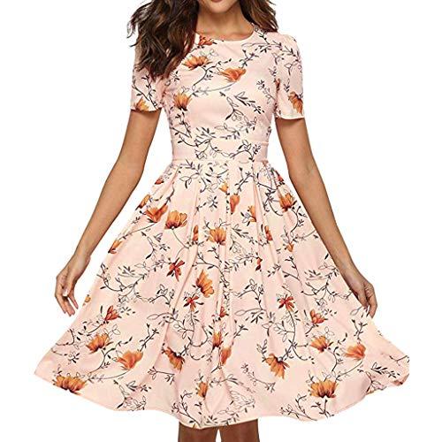 Zlolia Women's Floral Print Midi Dresses High Waist Short Sleeve Plain Bohemian A-Line Dress Summer Swing Skirts