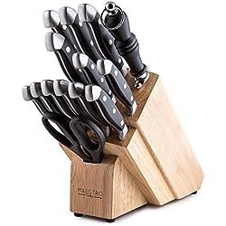 Maestro Cutlery Volken Series German High Carbon Stainless Steel Professional Knifes – 15 Piece Knife Set