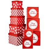 Christmas Nesting Gift Boxes Red and White Box With Glitter & Ribbon For Xmas Gifts and Holiday Party Decor Set of 10 Assorted Sizes of Extra Small, Small, Medium, Large and X-Large