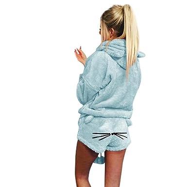 4d74c69a75 TAORE Long sleeve Women s Warm Winter Pj Set Two Piece Cute Cat Fleece  Pajamas Hoodie Sleepwear