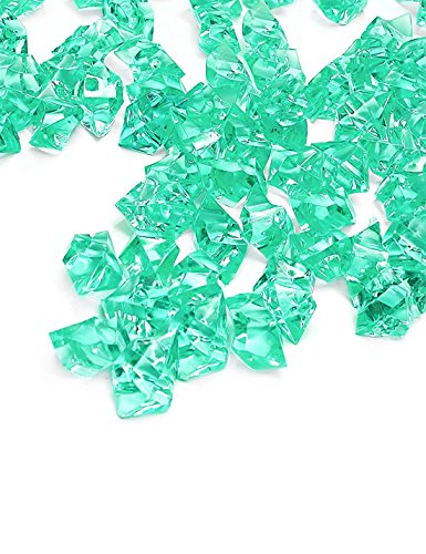 Teal Fake Crushed Ice Rocks, 150 PCS Fake Diamonds Plastic Ice Cubes Acrylic Clear Ice Rock Diamond Crystals Fake Ice Cubes Gems for Home Decoration Wedding Display Vase Fillers by DomeStar