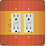 Rikki Knight 8561 Gfidouble Spain Flag On Distressed Wood Design Light Switch Plate