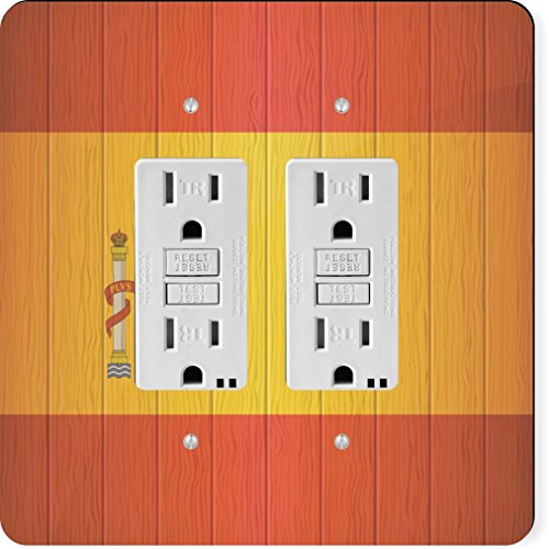 Rikki Knight 8561 Gfidouble Spain Flag On Distressed Wood Design Light Switch Plate by Rikki Knight