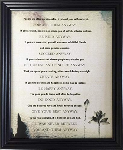(Desiderata Gallery Brand, Mother Teresa's Most Popular Quote Framed Water Color Lotus Photo Art Print)