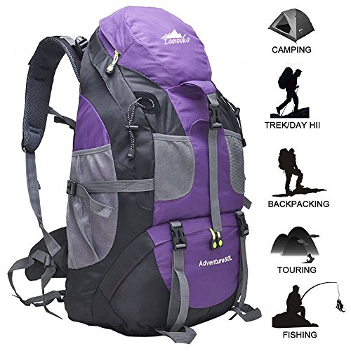 Price comparison product image Loowoko Hiking Backpack 50L with rain cover, Lightweight Waterproof Daypacks for Climbing, Hiking, Fishing, Traveling, Cycling, Weekend Trips, Walking & City Use (purple)
