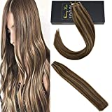 Sunny Tape in Human Hair Extensions Dark Brown Highlighted Dark Blonde Tape in Extensions Skily Straight 20pcs/50g 18inch
