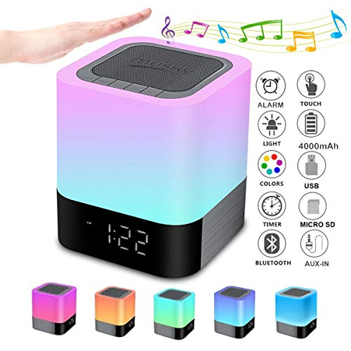 Bluetooth Speaker Night Lights, Alarm Clock Bluetooth Speaker, Smart Touch Control Bedside lamp,Dimmable RGB Multi-Color Changing LED Table Lamp for Bedroom, USB Flash Drive/MicroSD/AUX-in Supported