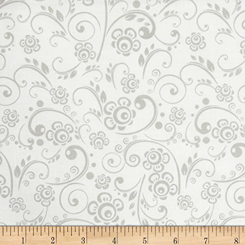 Get Back! Floral Swirl Gray/White Fabric By The (1 Yard Cotton Fabric)