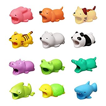 Xatan 12 pcs New Cable Bite for iPhone Cable Cord Cute Animal Phone Accessory Protects Cable Accessory (12PCS Animal Cable bite)