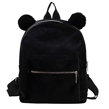 Amazon.com: Ladies MIni Backpack Cute Cat Ear School Bag Travel Lightweight Velour Book Bag Zulmaliu (Gray): Zulmaliu