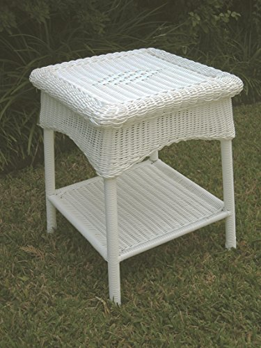 International Caravan 3188-WT-IC Furniture Piece Pvc Resin and Steel Outdoor Side Table, White