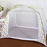 Sealive Baby Kid Infant Nursery Bed Crib Mosquito Net Netting Play Tent House Crib Bed Zippered Mosquito Net Tent Playhouse Yurt with Stand (Green)