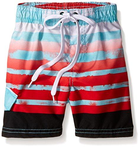 Kanu Surf Little Boys' Toddler Reflection Stripe Swim Trunk, Aqua, 2T
