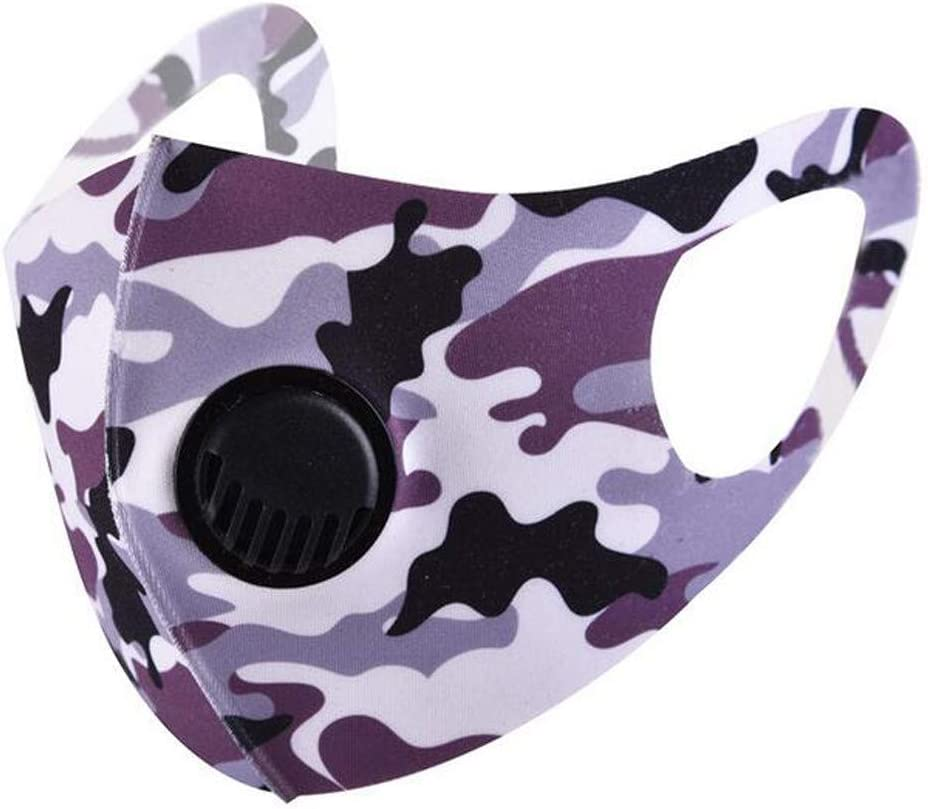 Reusable Washable Face Bandana Mouth Nose Covering Protection for Cycling Outdoor Camouflage Face Covering with Breathing Valve