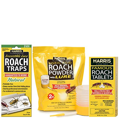 Harris Roach Kit Value Pack - Includes 32oz Acid Roach Killer with Powder Duster, 6oz Roach Tablets with Lure, and 2-Pack Roach Glue Traps ()