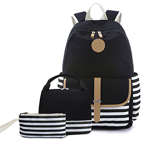 """Teens School Backpack Set, Canvas Unisex Bookbags 14"""" Laptop Backpack, 3 in 1 with Lunch Tote Bag Clutch Purse (Stripe-Black)"""