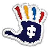 PinMart Autism Awareness Puzzle Piece and Hand Print Enamel Lapel Pin