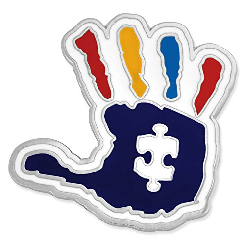 Autism Awareness Puzzle Pin - PinMart Autism Awareness Puzzle Piece and Hand Print Enamel Lapel Pin