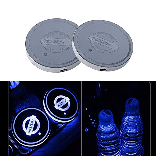 LED Car Cup Holder Lights for Nissan Accessories,LED Coaster with 7 Colors Changing USB Charging Mat Luminescent Cup Pad,LED Interior Atmosphere Lamp Decoration Light(2 PCS) ()
