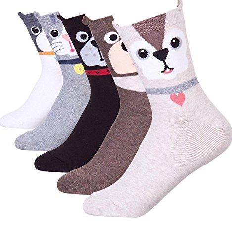 5 Pairs Cute Dog Print Fun Casual Women Teen Girls Crew Socks Gifts Christmas Stocking Stuffers (Dandy Pups) ()