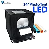 LimoStudio 24'' x 24'' Black LED Lighting Cube Box Table Top Photo Shooting Tent for Product Photography, AGG1691V2