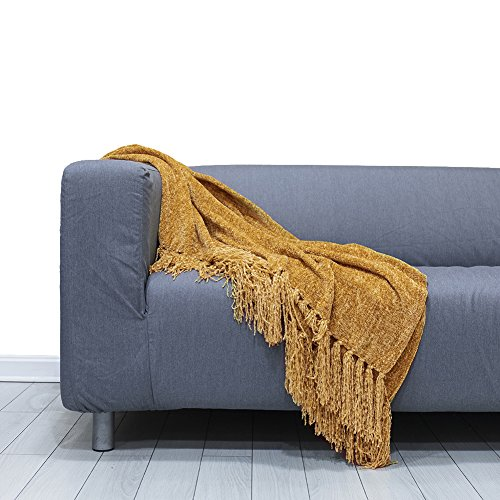 DOZZZ Chenille Couch Throw Blanket with Decorative Fringe for Home décor Gift Sofa Chair Bed Furniture Cover, Gold (Mattress Care Gold Foam)