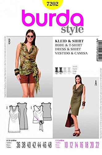 10 Burda Mesdames 7202/ 22 /Col Ch/âle Patron de Couture Robe et Top Tailles