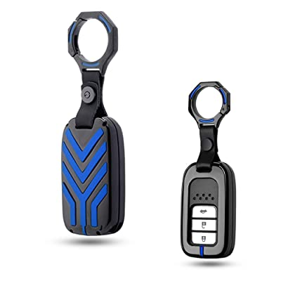 GTINTHEBOX Premium Keyless Remote Gunmetal Grey with Blue Symbol Alloy Metal Key Fob Case Cover Metal Protective Shell for Honda 2/3/4/5-Buttons Accord Civic Crosstour HRV FIT Odyssey Ridgeline, etc: Automotive