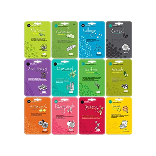Celavi Essence Facial Face Mask Paper Sheet Korea Skin Care Moisturizing 12 Pack Classic