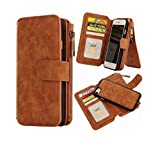 iPhone 7 Wallet Case,Hynice Detachable Wallet Purse Magnetic Slim PU Leather Protective Shell Cover With 14 Card Slot Zipper Pocket Kickstand For Apple iPhone7 4.7 inch (14Card-Brown)