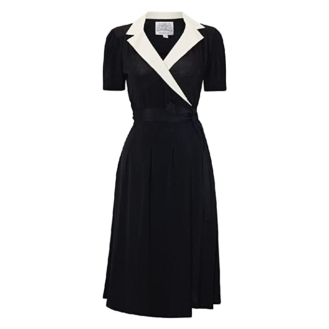 1940s Dresses and Clothing UK | 40s Shoes UK Seamstress Of Bloomsbury Womens Tea Party Peggy Wrap Dress £79.99 AT vintagedancer.com