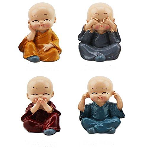 TATEELY 4Pcs/Set Car Ornaments Resin Monks Maitreya Buddha Kung Fu Buddhism Figure Doll Gift Auto Dashboard Decoration Pendants Charms Toy Gift (Buddha Doll)