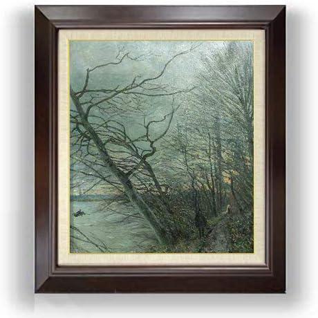 シスレー ヴニュ、森の枯れ木 F10 油絵直筆仕上げ| 絵画 10号 複製画 ブラウン額縁 675×601mm