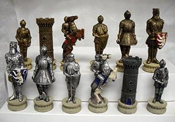 Schachfiguren Ritter Im Mittelalter H König 115 Mm Amazonde