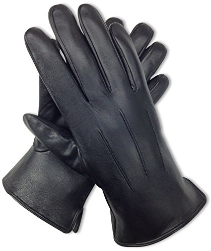 Bleu Nero Luxury Soft Men's Leather Gloves – Genuine Nappa Lambskin Leather with Cashmere Lining Gloves – Black Mens Winter Gloves for Dress and Driving (XX-Large, Rabbit Fur - (Lined Lamb Dress Glove)