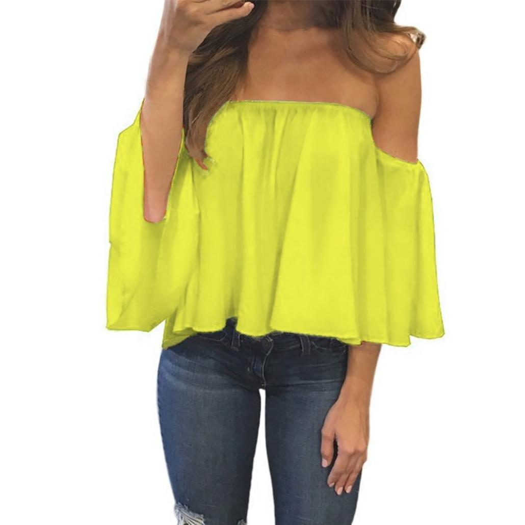 OSYARD Damen Langarm Pullover T-Shirt Aus der Schulter beiläufige Bluse